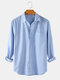 Mens Linen Basic Striped Print Brief Style Casual Fit Lapel Long Sleeve Shirts - Blue