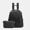 Women 2Pcs Anti theft Solid Casual Backpack Crossbody Bag Shoulder Bag - Black