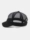 ユニセックスメッシュ通気性調節可能なショートカーブ野球帽 - 黒