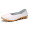 Women Casual Soft Leather Solid Color Ballet Flat Shoes - White