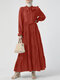 Solid Color Knotted Pleated Long Sleeve Casual Layered Muslim Dress - Rust red