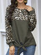 Leopard Print Patchwork Long Sleeves O-neck Casual T-shirt For Women - Dark Green