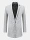 Mens Mid-long Solid Color Single Breasted Casual Business Cotton Trench Coat - Light Gray