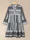 Geometric Bohemia Print Plus Size High Waist Dress - Black