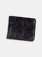 Men Genuine Leather Cow Leather Old Vintage Business Money Clips Coin Wallet - Black