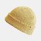 Women & Men roken Knitted Melon Skull Caps Fur Hat Dome Knit Beanie Hat - Yellow