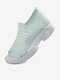Women Knitted Striped Soft Comfortable Sports Sandals - Green