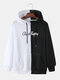Mens Contrast Color Funny Emojis Back Print Loose Pullover Hoodies - White