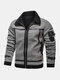 Mens Fleece Lined Warm Fur Leathers Suedes Zipper Front Thicken Jackets - Gray