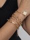 Vintage Complicated Diamond-studded Butterfly Lock-shape Alloy Bracelets Set - Gold