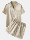 Plus Size Women Faux Silk Pajamas Set Solid Smooth Breathable Lapel Collar Loungewear With Short Sleeve Top - Champagne