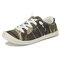 Women Camouflage Canvas Breathable Lace-up Casual Flat Court Sneakers - Brown