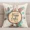 Precioso conejo de dibujos animados Patrón almohada de lino Caso sofá de tela en casa cubierta de cojín mediterráneo