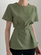 Solid Color O-neck Knotted Short Sleeve Women Casual Blouse - Green