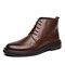 Hommes Brogue Comfy Microfiber Leather Business Dress Bottines - marron