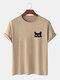 Mens Cartoon Cat Chest Print Crew Neck Short Sleeve 100% Cotton T-Shirt - Khaki