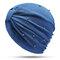 Womens Breathable Comfortable Pearl Headpiece Casual Elastic Beanie Hats Muslim Pile Heap Cap - Blue