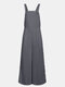 Solid Color Button Long Sleeveless Casual Jumpsuit for Women - Gray