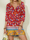 Floral Print Button Drawstring 3/4 Sleeve Casual Romper for Women - Red