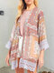 Ethnic Printed Lace Edging Long Sleeve Chiffon Kimono - As Picture