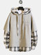 Mens Cool Patchwork Plaid Solid Color Drawstring Hoodies - Grey