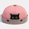 Women & Men Landlord Hat Street Cat Pattern Melon Cap Innocent Standard Sailor Skull Caps Brimless Hats - Pink