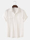 Men 100% Cotton Solid Color Double Pocket Casual Shirt - White