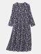 Women Vintage Floral Print O-neck Pocket Long Sleeve Maxi Dress - Blue