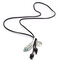 Vintage Flower Leaf Leather Necklace Metal Carved Long Tassel Beaded Necklace Sweater Chain - #03