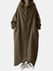 Solid Color Plain Zipper Pocket Long Sleeve Casual Hooded Coat for Women - Army green