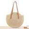 Women Leisure Round Straw Bag Woven Beach Bag Shoulder Bag