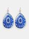 Vintage Glass Printed Women Earrings Geometric Flower Pendant Earrings Jewelry Gift - #05