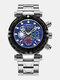 Multifunctional Men Business Watch Luminous Chronograph Calendar Quartz Watch - Black Case Blue Dial Silver Band