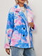 Tie-dyed Print Button Velet Thick Casual Coats for Women - Blue