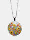 Vintage Glass Printed Women Necklace Colorful Floral Pendant Necklace Jewelry Gift - Silver