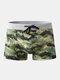 Men Print Swim Trunks America Flags Drawstring Letters Swimwear - Green