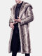 Mens Hooded Faux Fur Winter Warm Trench Coat Slim Fit Brown Grey Casual Jacket
