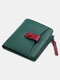 Women Genuine Leather Cow Leather Multifunction Coin Purse Money Clip Short Wallet - Green