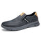 Men Comfy Microfiber Leather Slip-on Business Casual Shoes - Gray