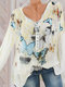Print Butterfly V Neck Button Long Sleeve Casual Blouse