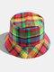 Women & Men Plaid Pattern Retro Port Style Windproof Soft All-match Travel Bucket Hat - #06