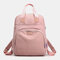 Women Casual USB Charging Multifunction Solid School Bag Backpack - Pink