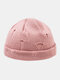 Unisex Acrylic Solid Color Hole Knitted Hat Brimless Beanie Landlord Cap Skull Cap - Pink