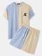 Mens X Pattern Patchwork Drop Shoulder Casual Short Sleeve Two Piece Outfits - Blue