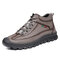 Men Retro Hand Stitching Leather Non Slip Casual Ankle Boots - Gray