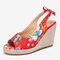 LOSTISY Women Printing Decor Comfy Wearable Peep Toe Casual Espadrilles Wedges Sandals - Red