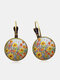 Vintage Geometric Round Alloy Glass Many Floral Pattern Print Earrings - Silver