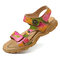 SOCOFY Soft Genuine Leather Hand Painted Flowers Pattern Retro Buckle Adjustable Hook Loop Sandals