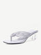 Large Size Women Casual Square Clip Toe Slip On Clear Heel Slippers - White