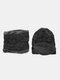 Men 2PCS Plus Velvet Thick Winter Outdoor Keep Warm Neck Protection Headgear Scarf Knitted Hat Beanie - Black
